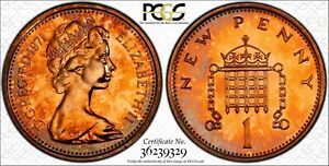 1971 GREAT BRITAIN 1 ONE NEW PENNY PCGS PR66RD PROOF ONLY 7 GRADED FINER