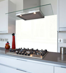 White Kitchen Glass Splashback Made From Toughened Heat Resistant Glass