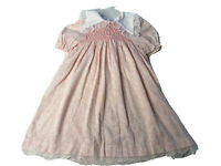 Vintage Polly Flinders Pink Hand Smocked w/ White Lace Trimmed Dress Size 6X