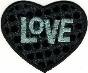 "3 "" Noir Disco Pois Amour Coeur Broderie Patch"