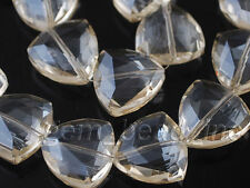 10ps Silver Champagne Glass Crystal Faceted Triangle Beads 18mm Spacer Findings