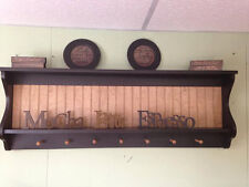 Primitive Plate Rack Wall Shelf Country Wood Display Plate and Bowl Rack Shaker