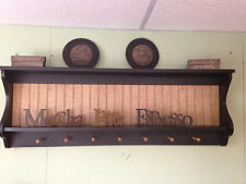 Primitive Plate Rack Wall Shelf Country Wood Display Plate and Bowl Rack Shaker : wooden plate shelf - pezcame.com