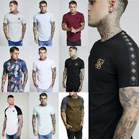 Sik Silk Mens Crew Neck Designer Curved Hem Retro Fashion Longline T Shirt Tee