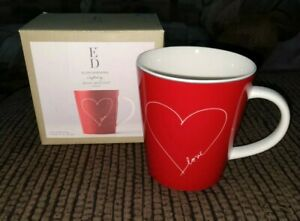 Ellen DeGeneres Coffee Mug Cup ED Mugs Signature White Heart Royal Doulton New