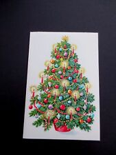 #K712- Vintage Unused Honey Comb Xmas Greeting Card Pretty Holiday Tree