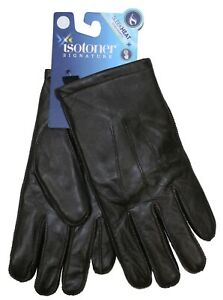 Isotoner Signature Genuine Leather Sleek Heat Touchscreen Compatible Gloves NWT