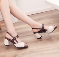 Women Ankle Strap Med Heels Peep Toe Sandals Slingback Party Casual Sexy Shoes