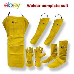 Leather Welder's Combo Set  Apron, Gloves Heat Safety Shoe Cover Welding Sleeves