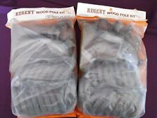 1970s Vintage 'Regent' Wood Pole Curtain Kit (no pole) x 2