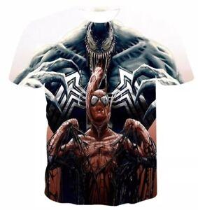 UK 2019 Marvel Comic Venom Spider-man 3D Printing Casual Pullover T-Shirt Medium