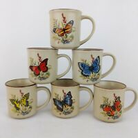 Butterfly Mug Vintage Set of 6 Speckled Stoneware Wellington Korea New in Box