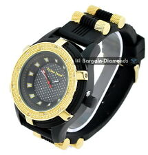 mens black cable clubbing watch black dial black sport strap gold bezel bullets