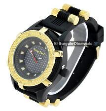 mens black cable clubbing watch black dial black sport strap gold bezel bullets