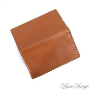 Vintage Genuine Pigskin Leather Peccary Whiskey Tan Whipstitch Edge Coat Wallet
