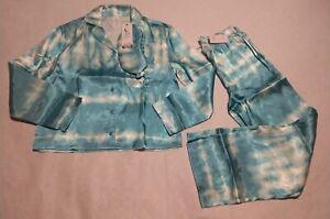 NWT Justice Tie Dye Silky Button Up Pajama Set Pajamas PJs & Eye Mask Size 10