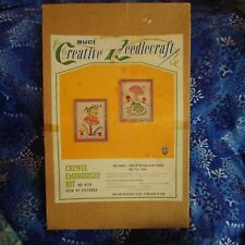 "Vintage Embroidery Kit in Box Wee Frogs(2) With 2 Picture Frames 5 1/2"" X 7 1/2"""