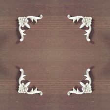 Conjunto de 4 Esquinas Blanco Shabby Chic De Muebles Apliques de resina molduras onlays