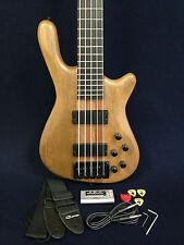 Haze SPB-3214N 5-String Neck-thru Electric Bass Guitar Natural w/Free gig bag