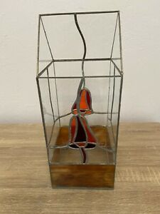 Vintage Stained Glass Terrarium Greenhouse 70's Hippie Mushroom Slag Glass 15""