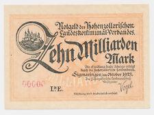 Sigmaringen 10 Md. Mark  MUSTER PROBE SPECIMEN Hohenzollerischen Landes. (241