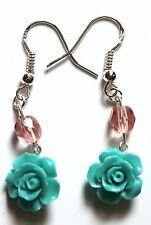 Boucles d'oreille Rose taillée Corail Turquoise Fait Main fermoir argent 925