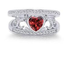 Garnet Red Heart Genuine Sterling Silver CZ Wedding Engagement Ring Set
