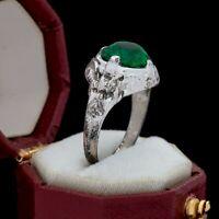 Antique Vintage Deco Sterling Silver UNCAS Emerald Paste Pinky Band Ring Sz 5