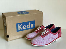 NEW! KEDS BOYFRIEND CHAMBRAY RED STRIPES OXFORDS SHOES 7 / 37.5 SALE