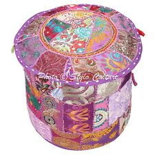 """Indian Round Pouf Cover Patchwork Embroidered Bean Bag Ottoman Cotton 16"""" Purple"""
