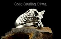 SIZE 11 Hallmark 925 Sterling Silver Motorcycles BIKER Wolf Head Men Ring R-243