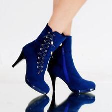 2019 new Womens Chic Boots Stilettos Mid-high Heels Platform Side Zipper Sz T702
