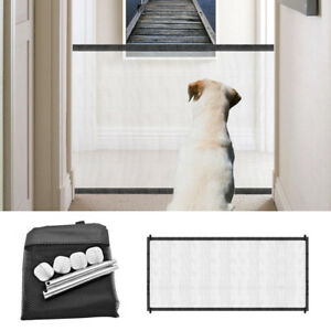 """72"""" Pet Dog Gate Safety Mesh Fence Portable Indoor Home Guard Net Stairs Black"""