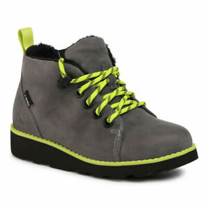 Clarks CROWN TOR Boys Girls Grey Leather Waterproof Warm Lined Boots 13-1 G Fit