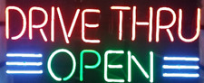"""New Drive Thru Open Beer Bar Man Cave Neon Light Sign 19""""x10"""""""