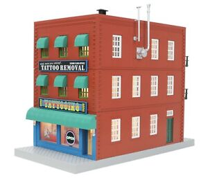 MTH 30-90566 TATTOO REMOVAL 3 STORY / FIRE ESCAPE & SIGN  O GAUGE  LIGHTED NIB