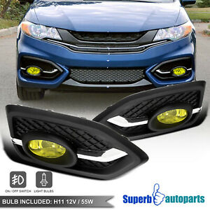 For 2014-2015 Honda 14-15 Civic 2Dr Coupe Amber Fog Lights Bumper Lamp Switch
