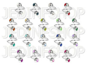 Twisted Barbell Spiral Ring   1.2mm (16g) - 6mm   Double Gem - 18 Colours