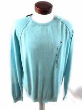 Tommy Hilfiger Mens Sweater Crew Neck Aqua Heather Soft Cotton Blend XL
