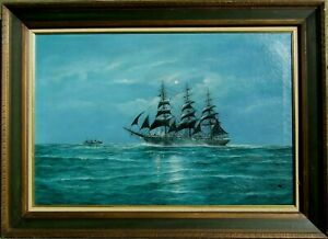 LISTED Jay Arnold Clipper Ship Sailing Sea at Sunset Large Older Oil Painting NR
