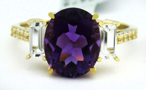 GENUINE 2.62 Cts AMETHYST & WHITE SAPPHIRE RING 10K GOLD * Free Certificate *