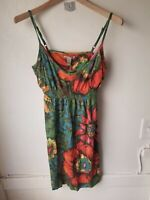 Women's LUCKY BRAND Shades of Red Cotton Floral Ruffled  Sun Dress Size M $$ EUC
