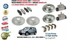 FOR SUZUKI IGNIS 1.3 1.5 2003-> BRAKE DISCS + PADS + DRUMS SHOES + CYLINDERS KIT
