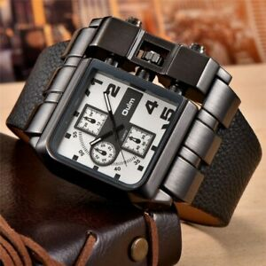 Oulm Casual Wristwatch Square Dial Wide Strap Men's Quartz Watch Leather Strap