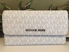 Michael Kors Jet Set Travel Bright White Logo LG Trifold Wallet 35F8STVF3B
