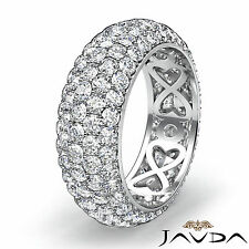 Platinum 950 Women Wedding Eternity Ring Round Diamond Engagement Band 3.95Ct
