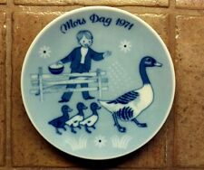 Porsgrunds Norway 1971 Mothers Day Mors Dag Plate Boy Geese Blue White