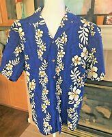 LAVA HUT Mens Hawaiian Shirt Button Front Short Sleeve Blue Hibiscus Floral Sz M