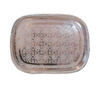 Handmade Moroccan Engraved Tea Tray Brass Plated Large Rectangular **NEW**