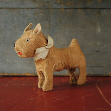Vintage Toy Dog Terrier Squeaker Glass Eyes 1950's Made in Japan